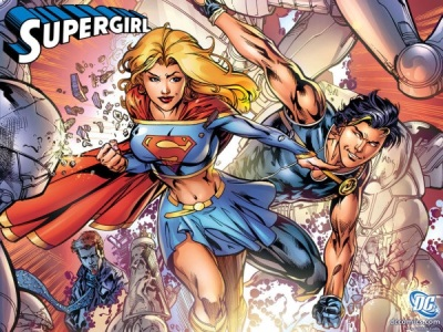 SuperGirl can be criticized easily depending on the image, but this image is more empowering as she is in action, central and engaged.
