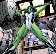 A powerful woman SheHulk, being strong yet why are we looking at her crotch? The angle is objectifying and the progress is sacrificed to the love of wet/ sweaty women available for the male gaze.